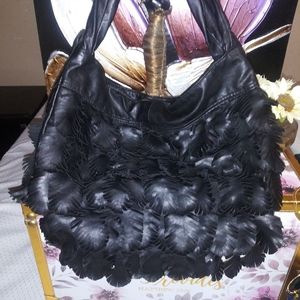 Leather feather Handbag